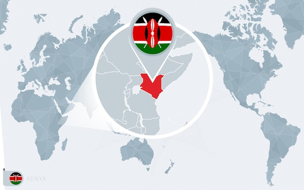 Carte du monde centrée sur le pacifique avec le kenya agrandi. drapeau et carte du kenya.