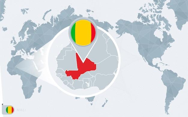 Carte du monde centrée sur le pacifique avec le mali agrandi. drapeau et carte du mali.