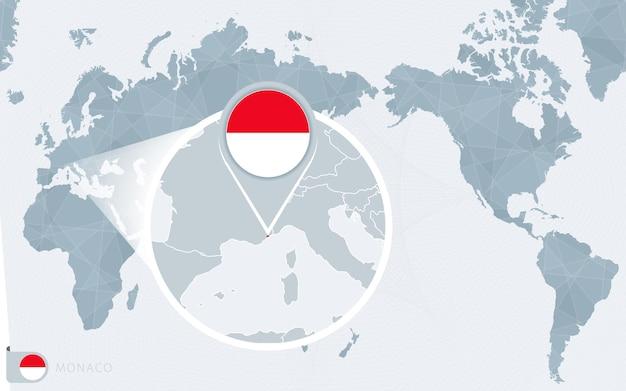 Carte du monde centrée sur le pacifique avec monaco agrandie. drapeau et carte de monaco.