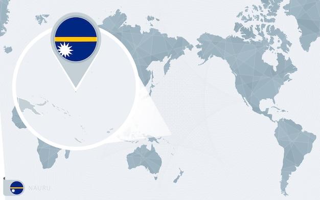 Carte du monde centrée sur le pacifique avec nauru agrandie. drapeau et carte de nauru.