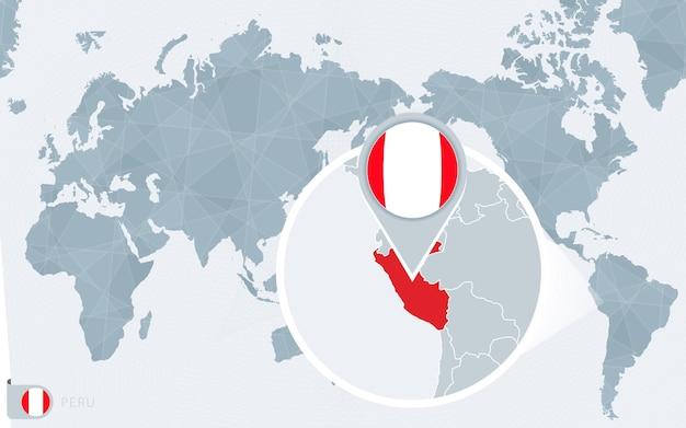 Carte du monde centrée sur le pacifique avec le pérou agrandi. drapeau et carte du pérou.