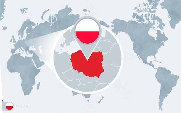 Carte du monde centrée sur le pacifique avec la pologne agrandie. drapeau et carte de la pologne.