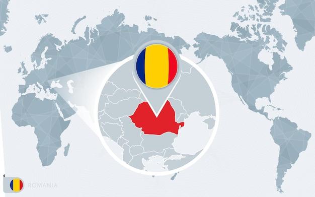 Carte du monde centrée sur le pacifique avec la roumanie agrandie. drapeau et carte de la roumanie.