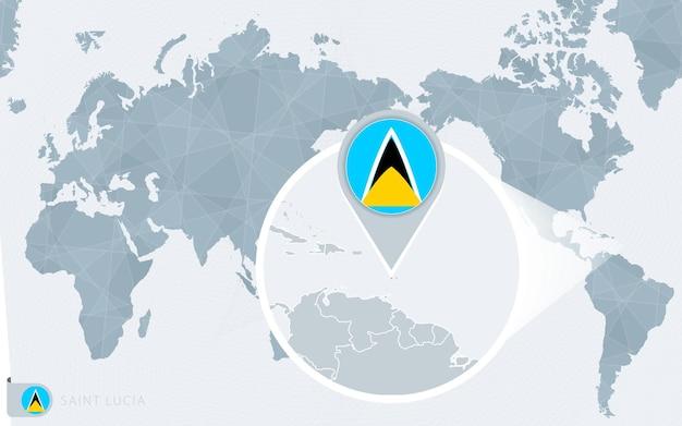 Carte du monde centrée sur le pacifique avec sainte-lucie agrandie. drapeau et carte de sainte-lucie.