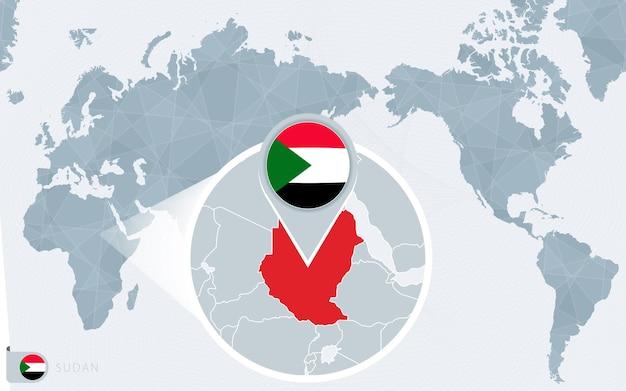 Carte du monde centrée sur le pacifique avec le soudan agrandi. drapeau et carte du soudan.