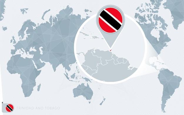 Carte du monde centrée sur le pacifique avec la trinité-et-tobago agrandie. drapeau et carte de trinité-et-tobago.