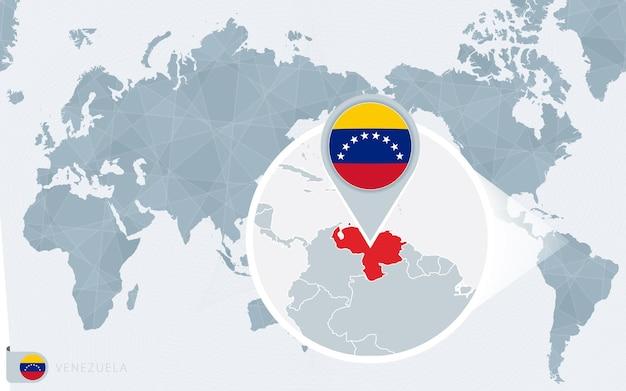 Carte du monde centrée sur le pacifique avec le venezuela agrandi. drapeau et carte du venezuela.