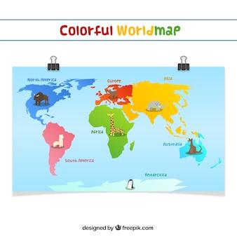 Carte du monde coloré
