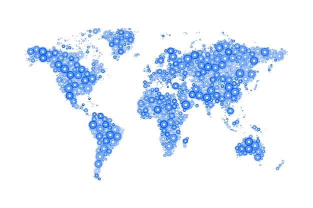 Carte du monde composée de cercles bleus modernes de différentes tailles avec un éclat brillant sur blanc
