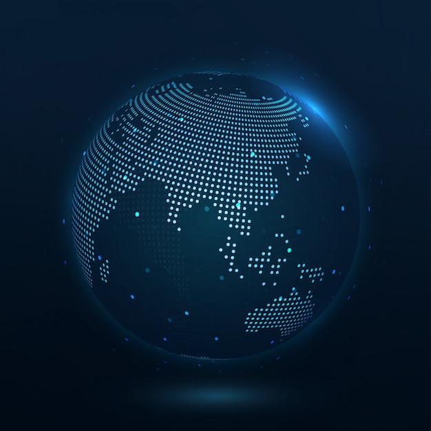 Carte du monde composée de points asie représentant la connexion mondiale