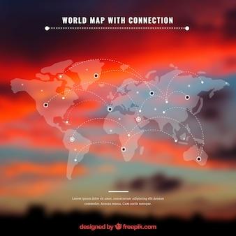 Carte du monde avec la connexion et le fond rouge