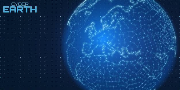 Carte du monde construite de nombres et de lignes