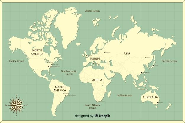 Carte du monde avec les continents spécifiés