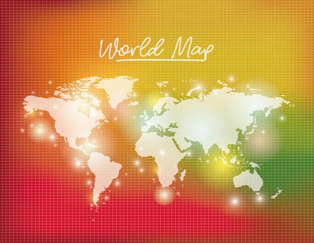 Carte du monde en couleur blanche