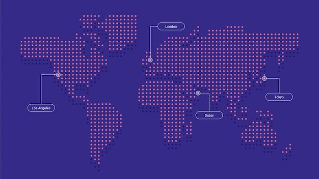 Carte du monde en couleur pointillée