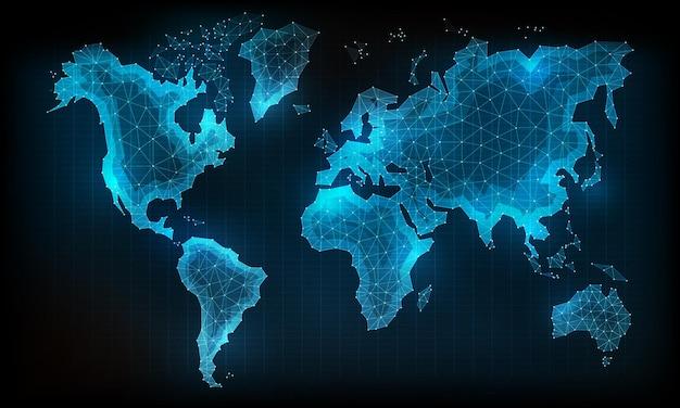 Carte du monde dans le style de ligne de polygone illustration de conception vectorielle