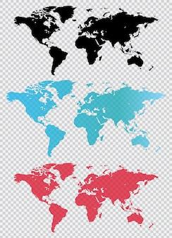 Carte du monde en différentes couleurs. illustration dans un style plat.