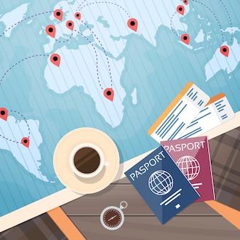 Carte du monde de document de voyage de carte d'embarquement de billet