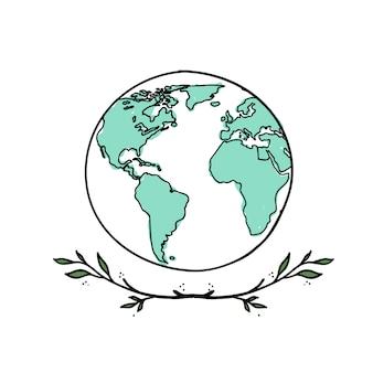 Carte du monde doodle dessiné à la main
