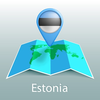 Carte du monde drapeau estonie en broche avec le nom du pays sur fond gris