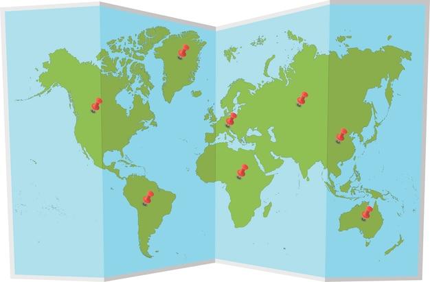Carte du monde avec des épingles