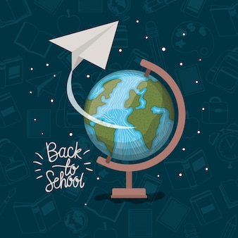 Carte du monde et fournitures de rentrée scolaire