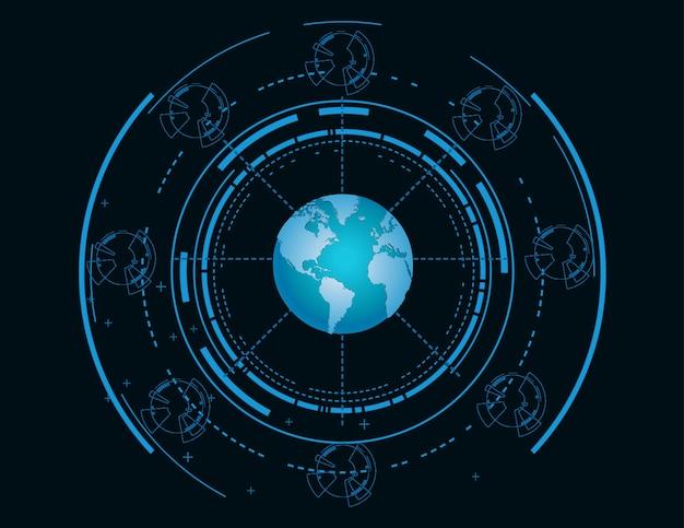 Carte du monde futuriste bleue