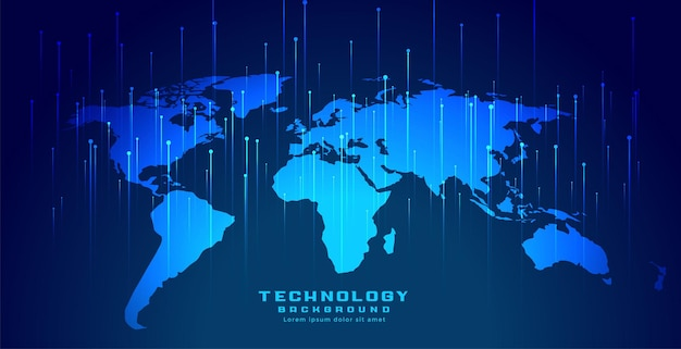 Carte du monde globale avec des lignes verticales numériques