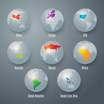 Carte du monde sur le globe