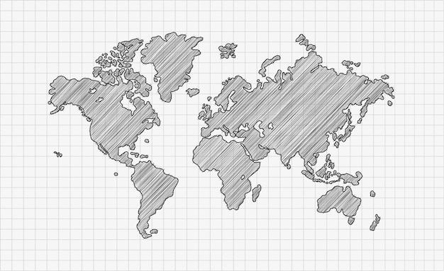 Carte du monde de griffonnage