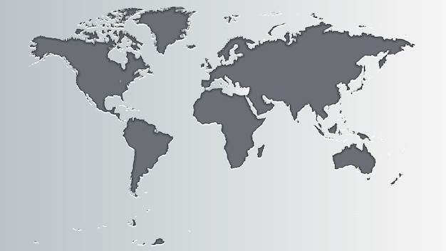 Carte du monde gris