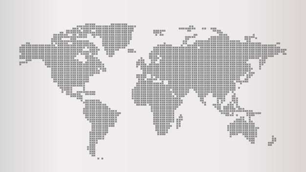 Carte du monde grise en pointillés