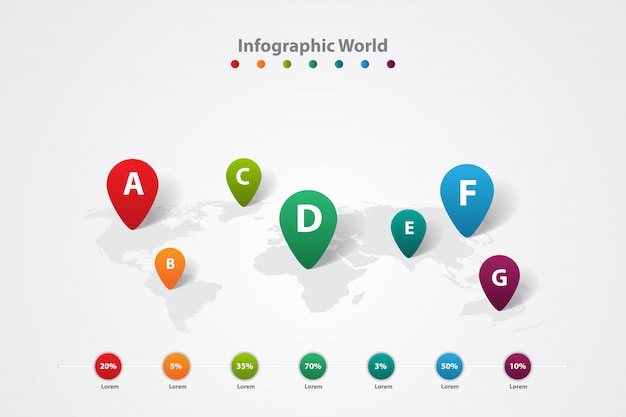 Carte du monde infographique, plan d'information sur la communication de transport