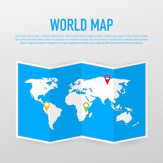 Carte du monde isolé sur fond blanc. terre plate, modèle de carte grise pour site web.
