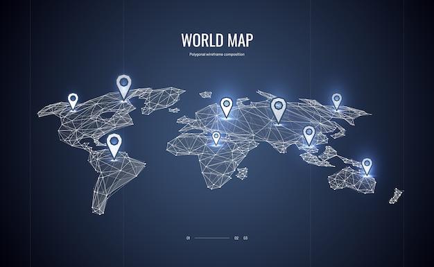 Carte du monde isométrique