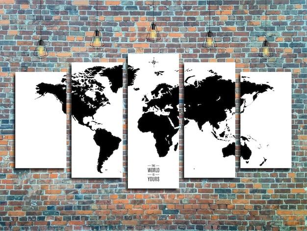 Carte du monde avec des lampes edison sur un fond de mur de brique dans un style loft.