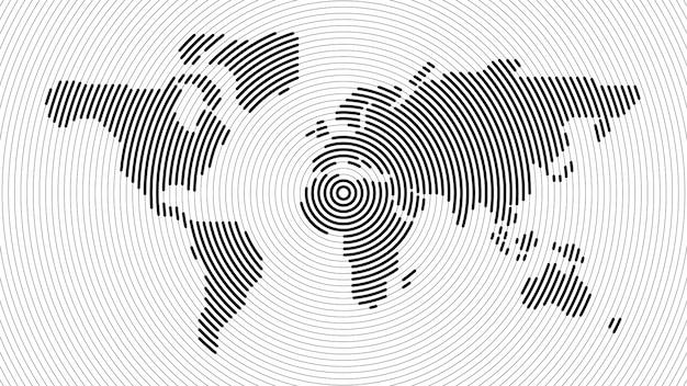 Carte du monde de la ligne radiale abstraite