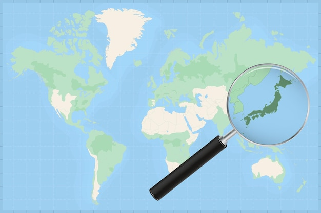 Carte du monde avec une loupe sur une carte du japon.