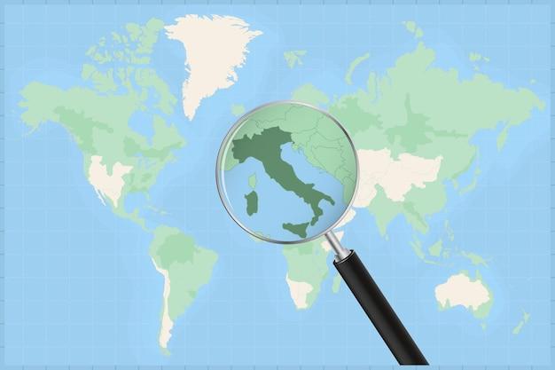 Carte du monde avec une loupe sur une carte de l'italie.