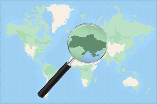 Carte du monde avec une loupe sur une carte de l'ukraine.