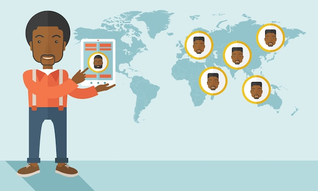 Carte du monde avec les mêmes visages pour toutes les destinations.
