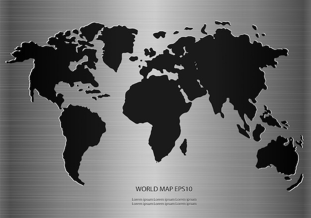 Carte du monde en métal