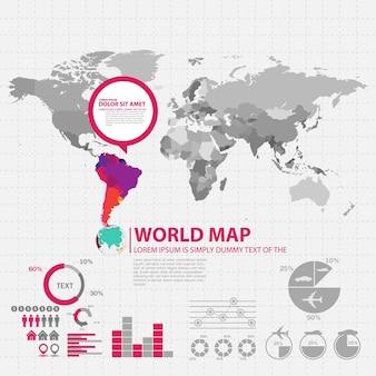 Carte du monde avec modèle de conception infographique de pays sélectionnés