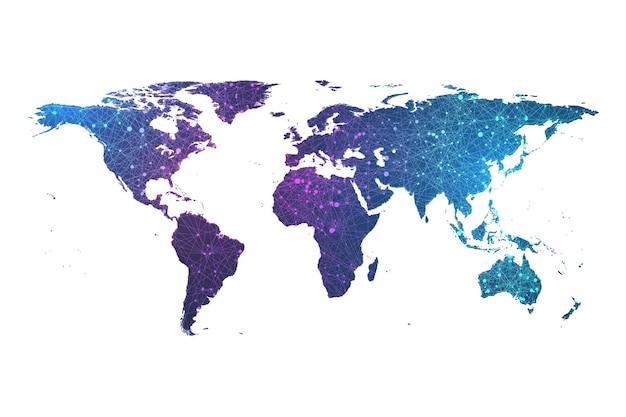 Carte du monde de particules de plexus de connexion réseau mondial