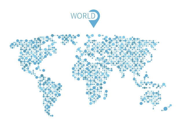 Carte du monde à partir de cercles pour infographie. carte d'illustration du monde et carte de forme abstraite