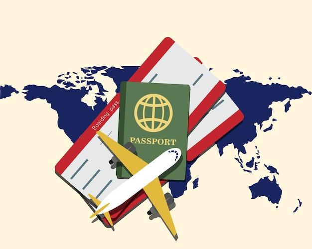 Carte du monde avec un passeport