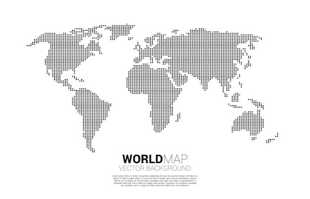 Carte du monde de pixel carré.