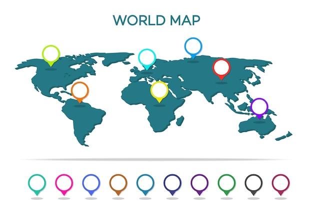 Carte du monde avec pointeur isolé sur blanc