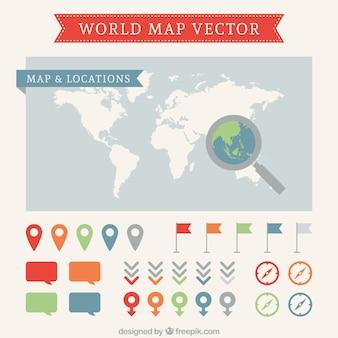 Carte du monde et des pointeurs