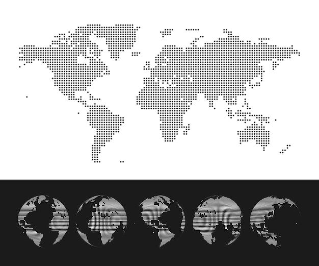 Carte du monde en pointillé et ensemble de globe. illustration